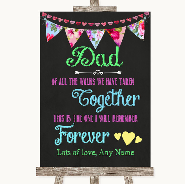 Bright Bunting Chalk Dad Walk Down The Aisle Personalised Wedding Sign