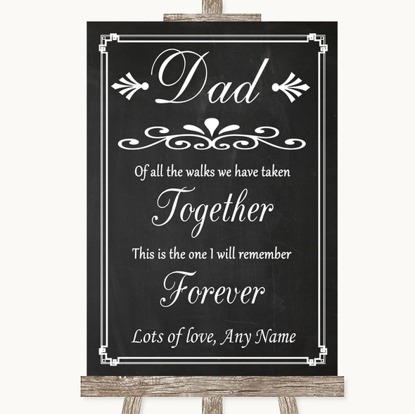 Chalk Style Dad Walk Down The Aisle Personalised Wedding Sign