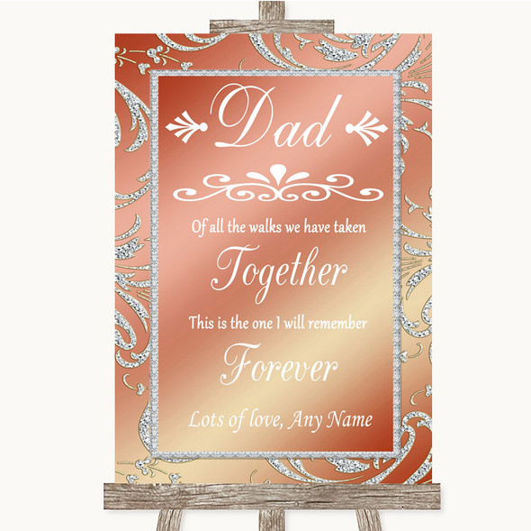 Coral Pink Dad Walk Down The Aisle Personalised Wedding Sign