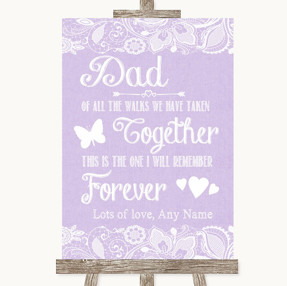 Lilac Burlap & Lace Dad Walk Down The Aisle Personalised Wedding Sign