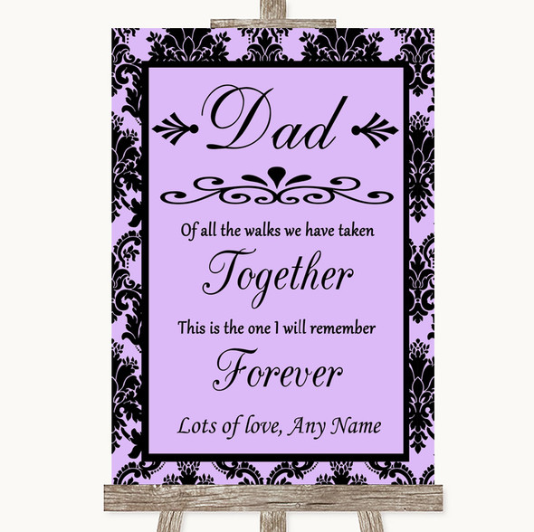 Lilac Damask Dad Walk Down The Aisle Personalised Wedding Sign