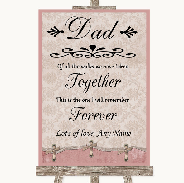 Pink Shabby Chic Dad Walk Down The Aisle Personalised Wedding Sign