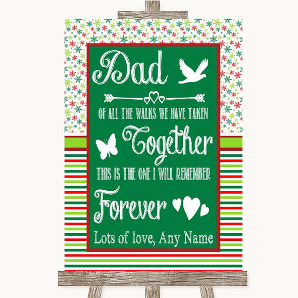 Red & Green Winter Dad Walk Down The Aisle Personalised Wedding Sign