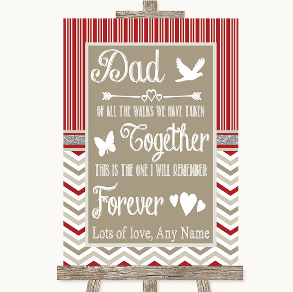Red & Grey Winter Dad Walk Down The Aisle Personalised Wedding Sign