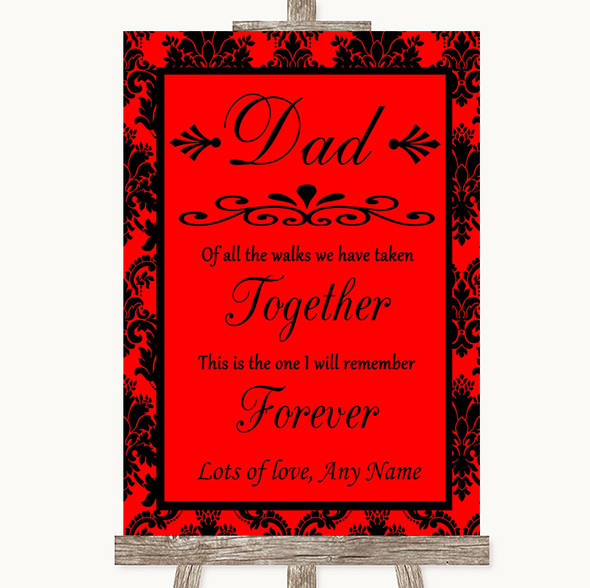 Red Damask Dad Walk Down The Aisle Personalised Wedding Sign