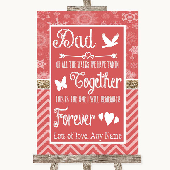 Red Winter Dad Walk Down The Aisle Personalised Wedding Sign