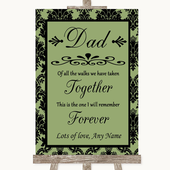 Sage Green Damask Dad Walk Down The Aisle Personalised Wedding Sign