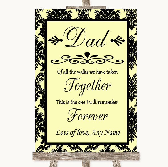Yellow Damask Dad Walk Down The Aisle Personalised Wedding Sign