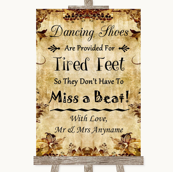 Autumn Vintage Dancing Shoes Flip-Flop Tired Feet Personalised Wedding Sign
