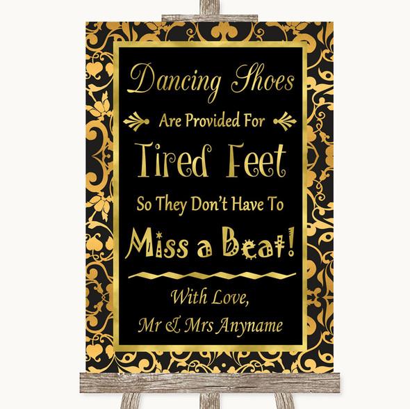 Black & Gold Damask Dancing Shoes Flip-Flop Tired Feet Personalised Wedding Sign