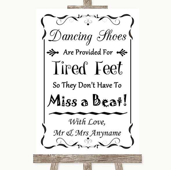Black & White Dancing Shoes Flip-Flop Tired Feet Personalised Wedding Sign