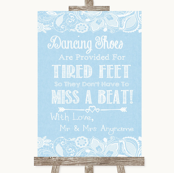 Blue Burlap & Lace Dancing Shoes Flip-Flop Tired Feet Personalised Wedding Sign