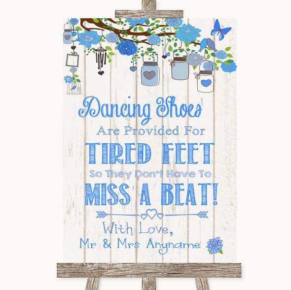 Blue Rustic Wood Dancing Shoes Flip-Flop Tired Feet Personalised Wedding Sign
