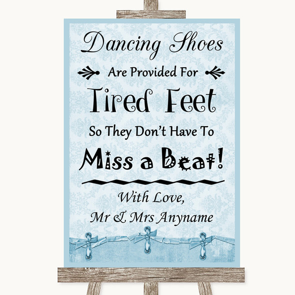 Blue Shabby Chic Dancing Shoes Flip-Flop Tired Feet Personalised Wedding Sign