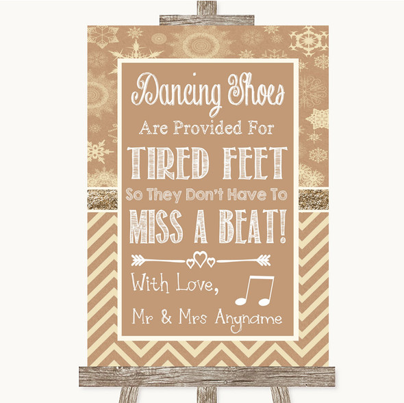 Brown Winter Dancing Shoes Flip-Flop Tired Feet Personalised Wedding Sign