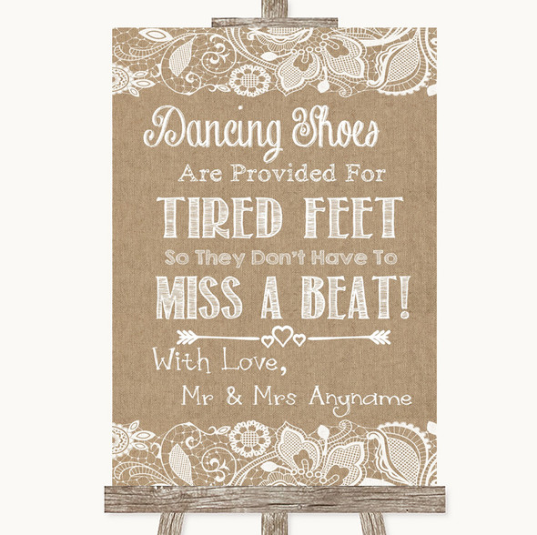 Burlap & Lace Dancing Shoes Flip-Flop Tired Feet Personalised Wedding Sign