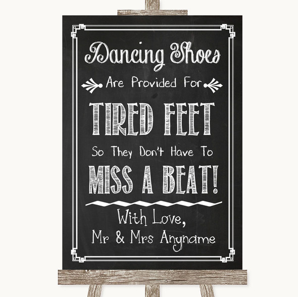Chalk Sketch Dancing Shoes Flip-Flop Tired Feet Personalised Wedding Sign