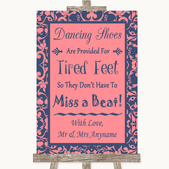 Coral Pink & Blue Dancing Shoes Flip-Flop Tired Feet Personalised Wedding Sign