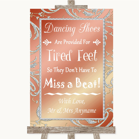 Coral Pink Dancing Shoes Flip-Flop Tired Feet Personalised Wedding Sign