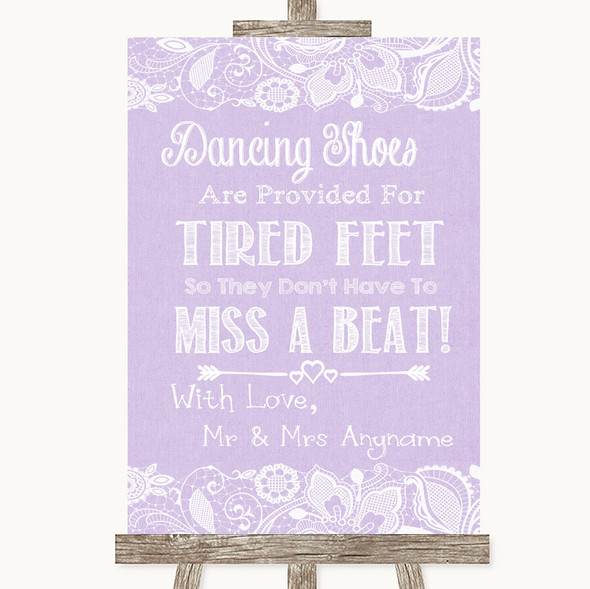 Lilac Burlap & Lace Dancing Shoes Flip-Flop Tired Feet Personalised Wedding Sign