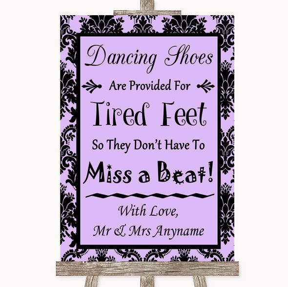 Lilac Damask Dancing Shoes Flip-Flop Tired Feet Personalised Wedding Sign