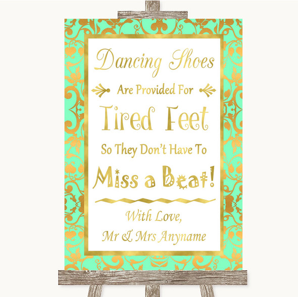 Mint Green & Gold Dancing Shoes Flip-Flop Tired Feet Personalised Wedding Sign
