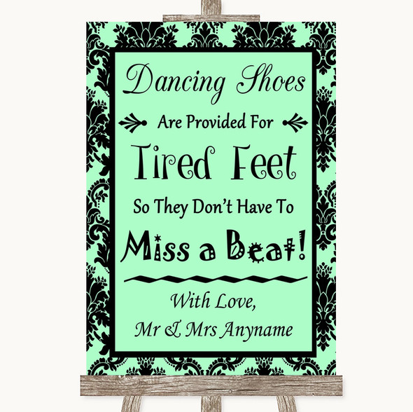 Mint Green Damask Dancing Shoes Flip-Flop Tired Feet Personalised Wedding Sign