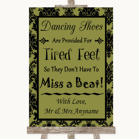 Olive Green Damask Dancing Shoes Flip-Flop Tired Feet Personalised Wedding Sign