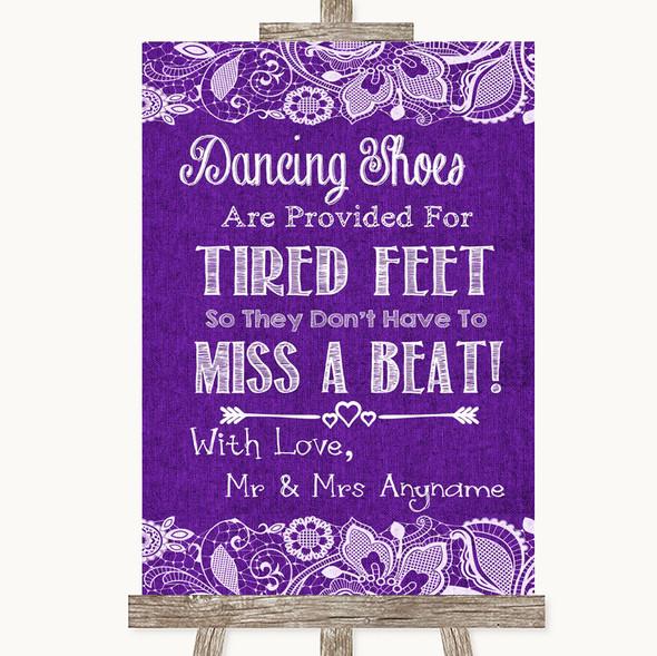 Purple Burlap & Lace Dancing Shoes Flip-Flop Tired Feet Wedding Sign