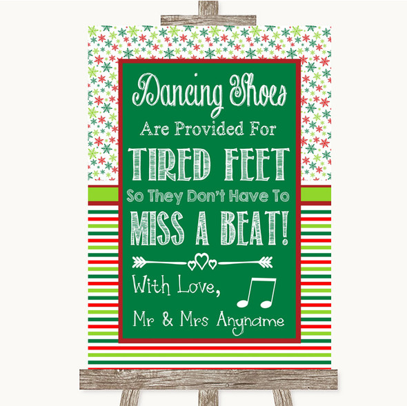 Red & Green Winter Dancing Shoes Flip-Flop Tired Feet Personalised Wedding Sign