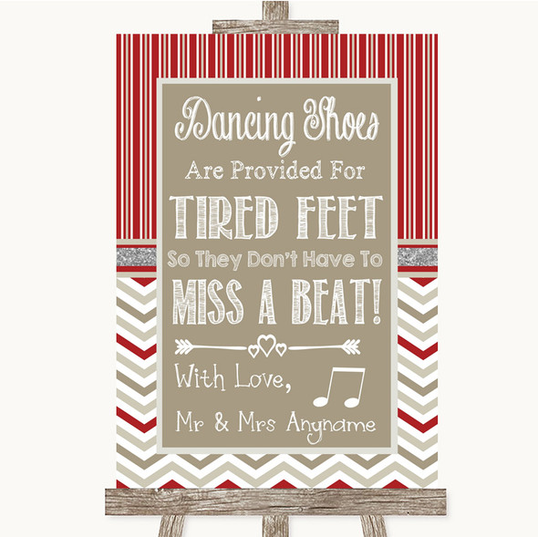 Red & Grey Winter Dancing Shoes Flip-Flop Tired Feet Personalised Wedding Sign