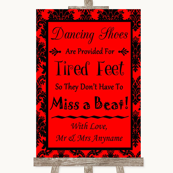 Red Damask Dancing Shoes Flip-Flop Tired Feet Personalised Wedding Sign