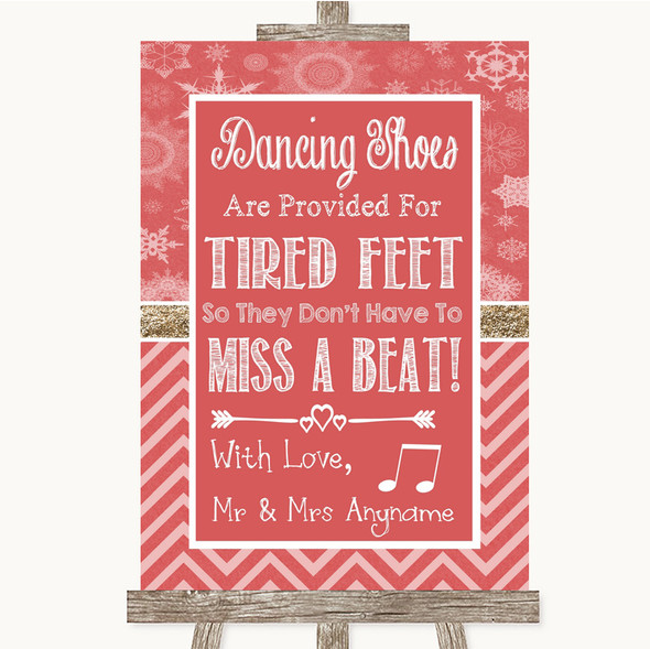 Red Winter Dancing Shoes Flip-Flop Tired Feet Personalised Wedding Sign