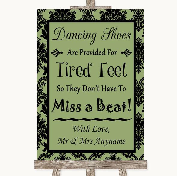 Sage Green Damask Dancing Shoes Flip-Flop Tired Feet Personalised Wedding Sign