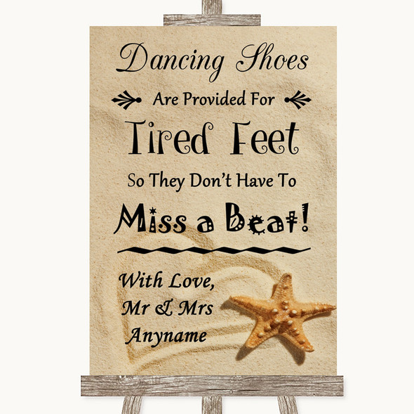 Sandy Beach Dancing Shoes Flip-Flop Tired Feet Personalised Wedding Sign