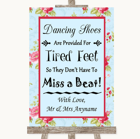 Shabby Chic Floral Dancing Shoes Flip-Flop Tired Feet Personalised Wedding Sign