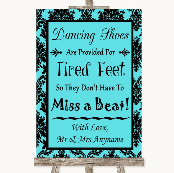 Tiffany Blue Damask Dancing Shoes Flip-Flop Tired Feet Personalised Wedding Sign