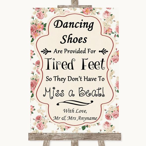 Vintage Roses Dancing Shoes Flip-Flop Tired Feet Personalised Wedding Sign