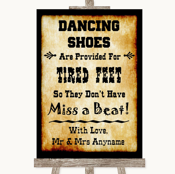 Western Dancing Shoes Flip-Flop Tired Feet Personalised Wedding Sign