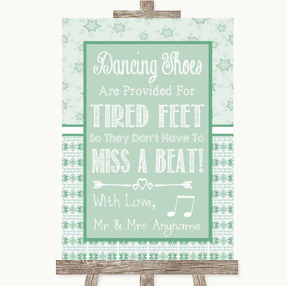 Winter Green Dancing Shoes Flip-Flop Tired Feet Personalised Wedding Sign