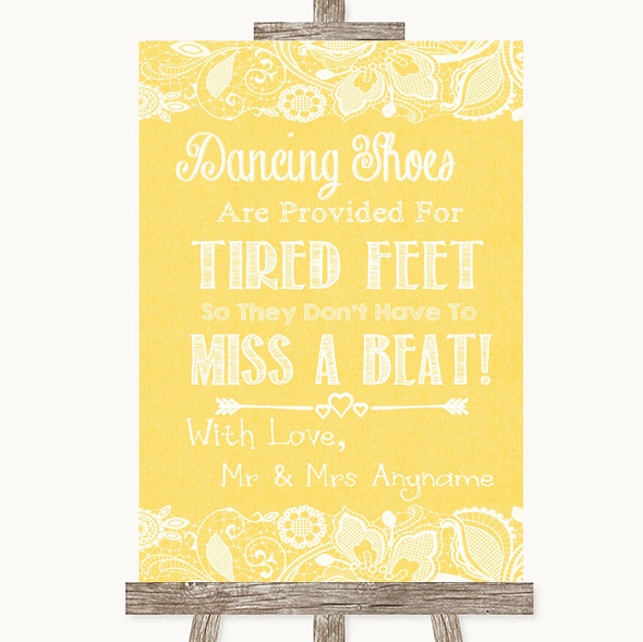 Yellow Burlap & Lace Dancing Shoes Flip-Flop Tired Feet Wedding Sign