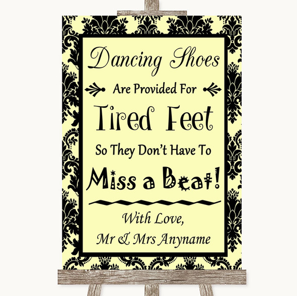 Yellow Damask Dancing Shoes Flip-Flop Tired Feet Personalised Wedding Sign