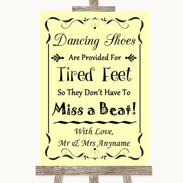 Yellow Dancing Shoes Flip-Flop Tired Feet Personalised Wedding Sign