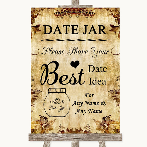 Autumn Vintage Date Jar Guestbook Personalised Wedding Sign
