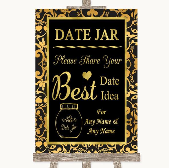 Black & Gold Damask Date Jar Guestbook Personalised Wedding Sign