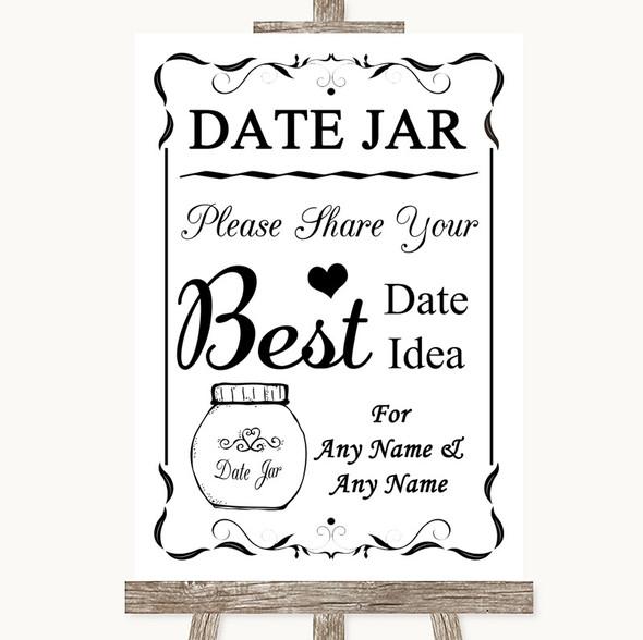 Black & White Date Jar Guestbook Personalised Wedding Sign