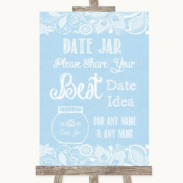 Blue Burlap & Lace Date Jar Guestbook Personalised Wedding Sign