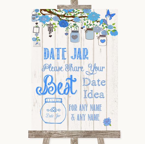 Blue Rustic Wood Date Jar Guestbook Personalised Wedding Sign