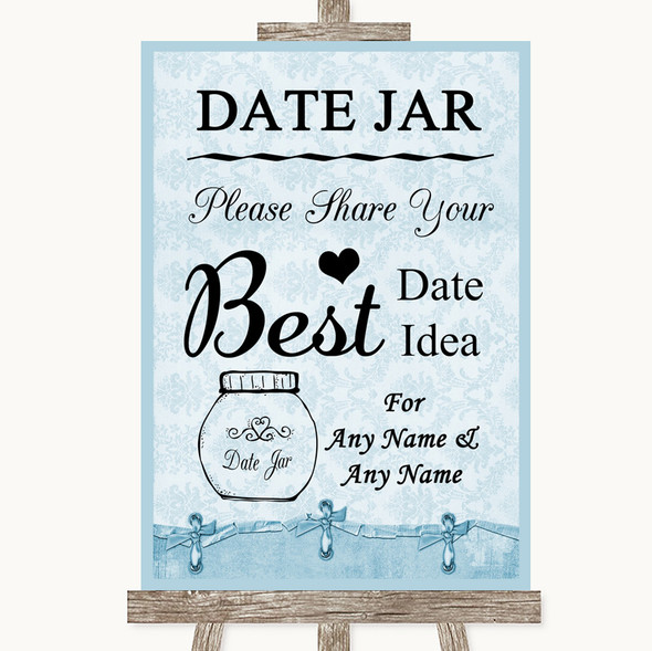 Blue Shabby Chic Date Jar Guestbook Personalised Wedding Sign