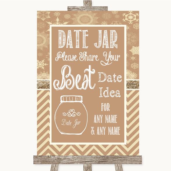 Brown Winter Date Jar Guestbook Personalised Wedding Sign